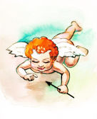 Small cupid with arrow — Stock Photo