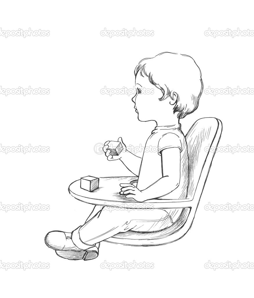 Sitting Baby Drawing Baby Sitting on The Small