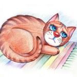 Sad hungry cat lying on the carpet — Stock Photo #2262945