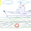 Stock Photo: Child's drawing with big battleship