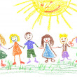 Summer day, child's drawing — Foto Stock