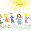 Summer day, child's drawing — 图库照片