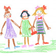 Three little girls - Stock Photo