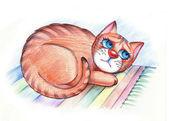 Sad hungry cat lying on the carpet — Stock Photo