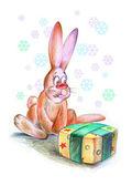 Funny Christmas rabbit — Stock Photo
