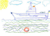 Child's drawing with big battleship — Stock Photo