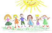 Summer day, child's drawing — Stock Photo