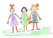 Three little girls — Stock Photo