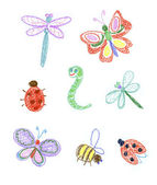Kid's illustration of insects — Stock Photo