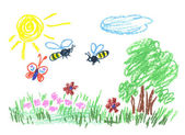 Meadow illustration — Stock Photo