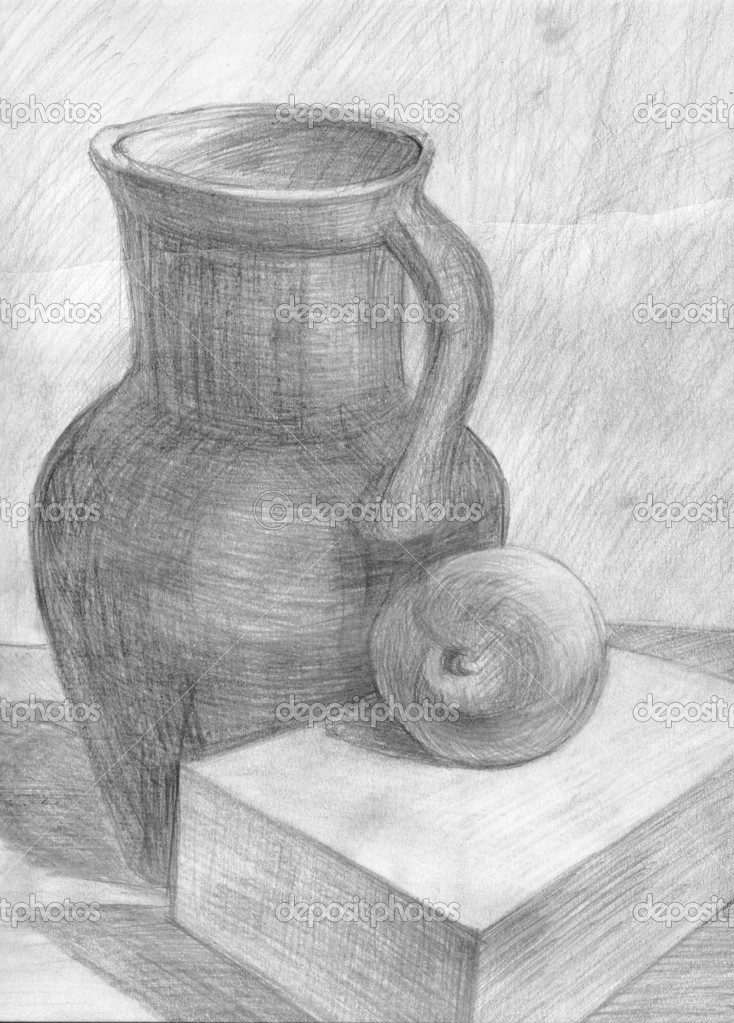 jug and apple, artistic school, pencil, grey, draw — Stock Photo #2270550