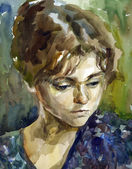 Watercolour woman portrait — Stock Photo