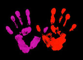 Violet and red fingerprint — Stock Photo