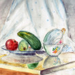 Watercolour educational still life — Stock Photo