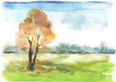 Watercolour autumn landscape — Stockfoto