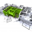 Green apartment mockup on blueprints - Stock Photo