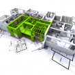 Royalty-Free Stock Photo: Green apartment mockup on blueprints