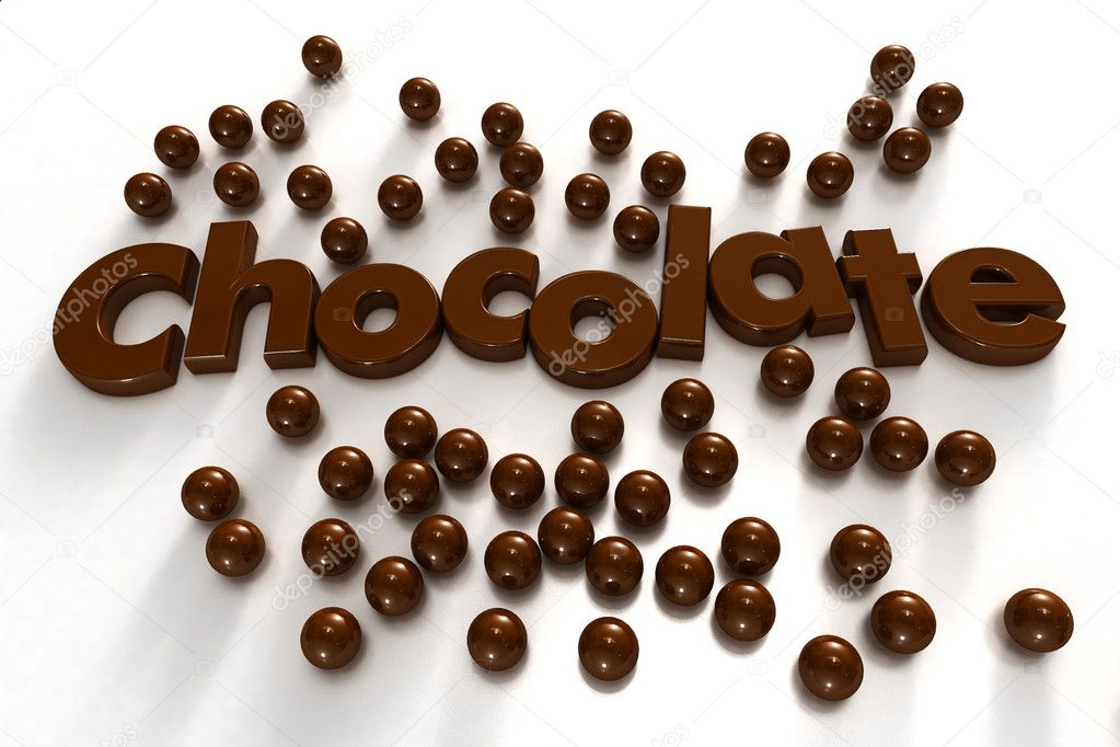 Word chocolate formed by chocolate-textured letters and surrounded by chocolate drops on a white background — Stock Photo #2155842