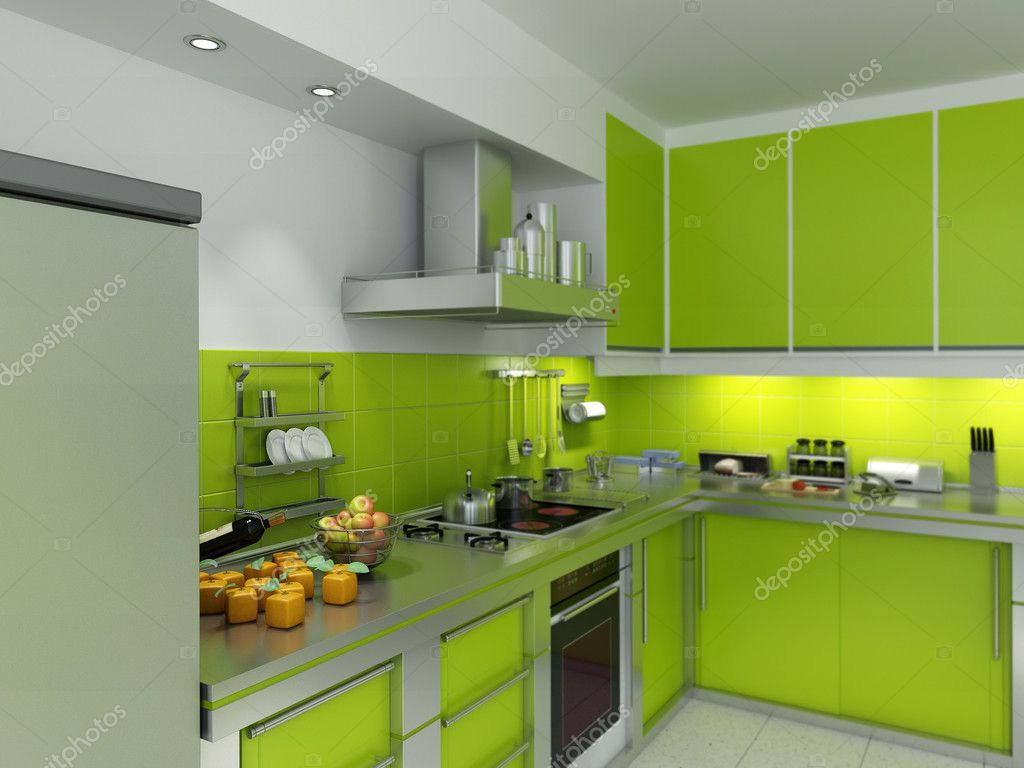 3D rendering of a modern spacious kitchen in green and chrome  Stock Photo #2155860