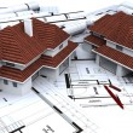Two houses mockups on blueprints — Stock Photo