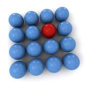 Blue and red billiard balls square — Stock Photo