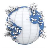 Grafico della terra in blu e bianco — Foto Stock