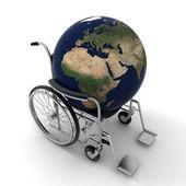 Earth on a wheelchair — Stock Photo
