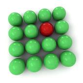 Green and red billiard balls square — Stock Photo