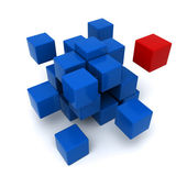 Red and blue cubic background — Stock Photo