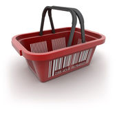 Red shopping basket — Photo