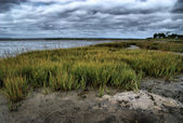 Stormy evening at low tide — Stock Photo