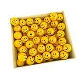 Box full of smilies in different moods, — Stock Photo