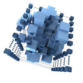 Abstract blue cubic background — Stock Photo