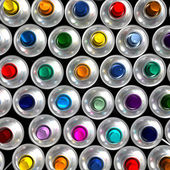 Aerial view of aerosol cans — Stock Photo