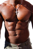 Black man torso with diamond cross — Stock Photo