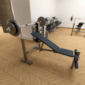 Weight bench at the gym — Stock Photo