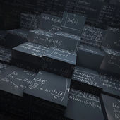 Blackboard blocks with maths formulae — Stock Photo
