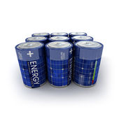 9 solar batteries — Stock Photo