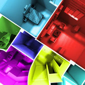 Multicolored roofless apartment — Stock Photo