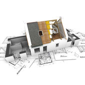 House with exposed roof layers and plans — Stock Photo