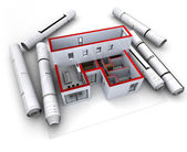 Architectural model design red — Stock Photo
