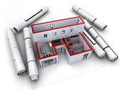 Architekturmodell entwerfen rot — Stockfoto
