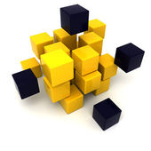 Black and yellow cubic background — Stock Photo