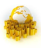 Shopping around the world in yellow — Stock Photo