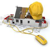 Byggarbetsplatsen i gult — Stockfoto