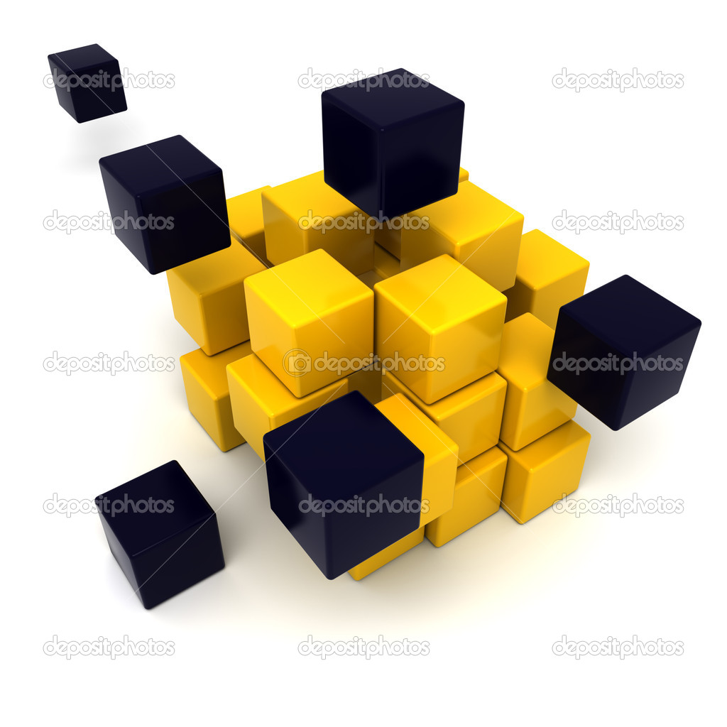 3D rendering of a black and yellow cubic background — Stock Photo #2191223