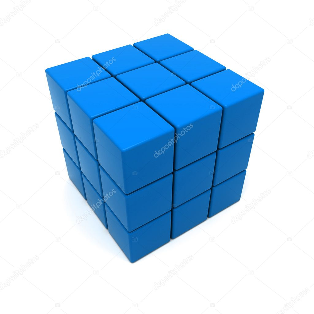 3D rendering of a blue cubic structure made of red cubes — Stock Photo #2191326