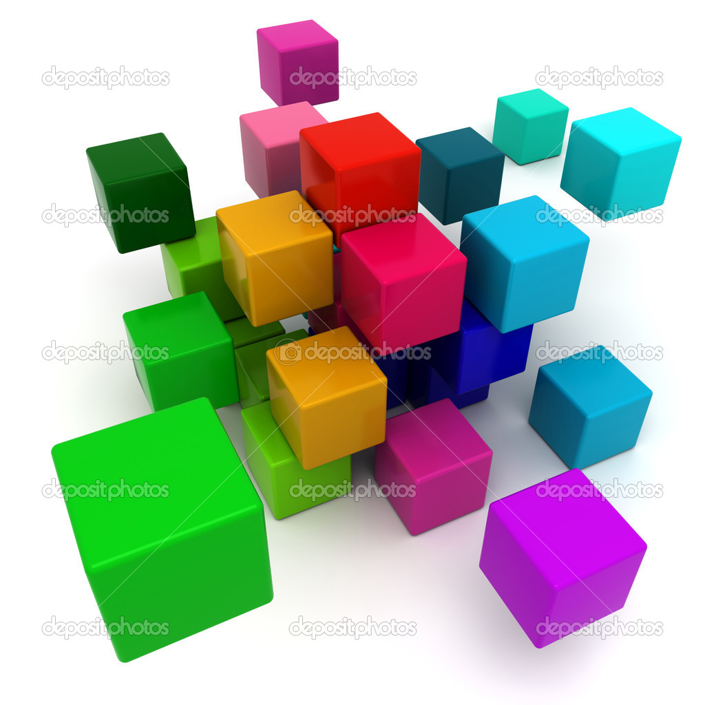 3D rendering of a multicolored cubic background  Stock Photo #2191358