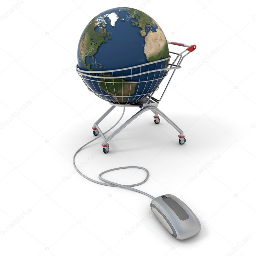 3D rendering of a world globe on a supermarket trolley connected to a computer mouse — Stock Photo #2191771