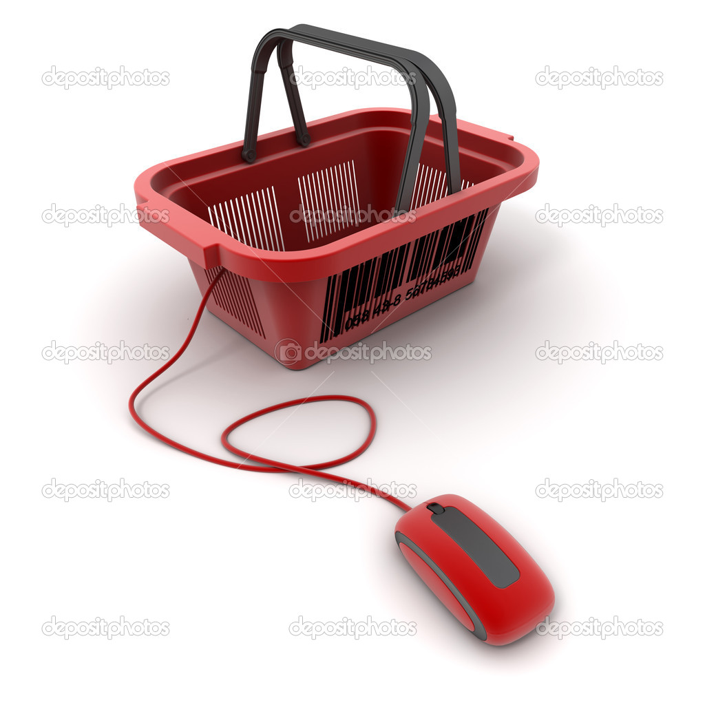 3D rendering of a shopping basket connected to a computer mouse — Stock Photo #2191859